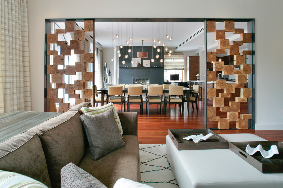 screen dividers Living Room Contemporary with beige curtain beige dining chair beige wall brown sofa brown tray globe
