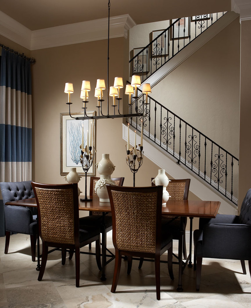 seagrass dining chairs Dining Room Traditional with banister blue and brown centerpiece chandelier chandelier shades crown molding curtains drapes