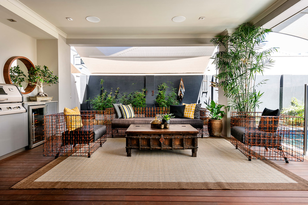 Seagrass Rug Deck Contemporary With Geometric Patio Furniture Glass Railing  Integrated Grill Outdoor Potted Plants Unique