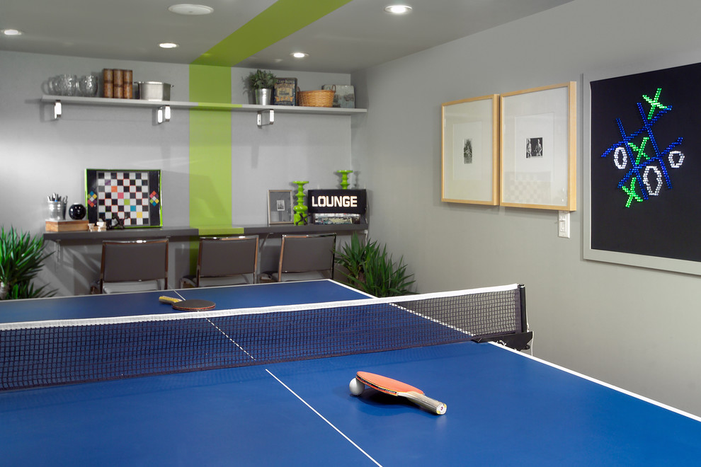 Sealy Pillows Basement Contemporary with Blue Ping Pong Table Built in Bar Chalkboard Wall Floating Shelf Game