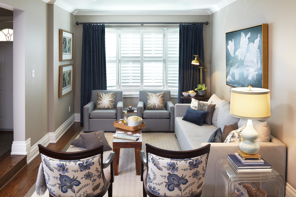 Sealy Pillows Living Room Contemporary with Artwork Baseboards Blue Decorative Pillows Drapes Gray Armchairs Gray Walls Grey Colour