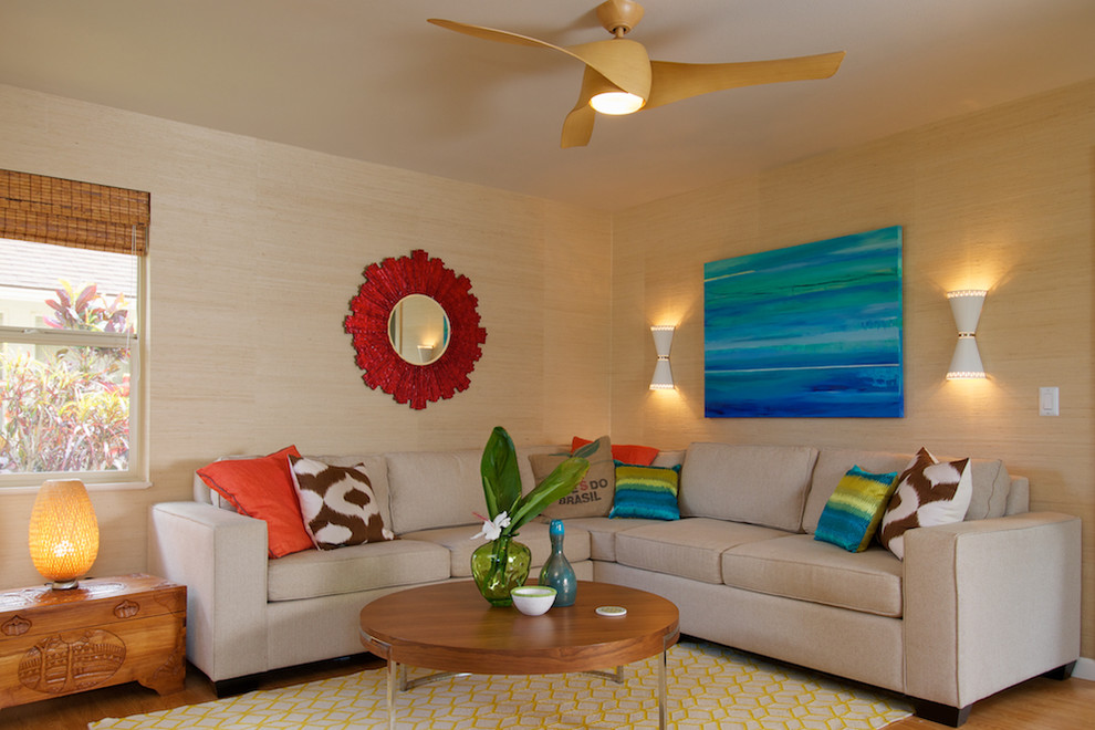 Sectional Sleeper Living Room Tropical with Bamboo Blinds Decorative Pillows Grass Cloth Modern Ceiling Fan Modern Coffee Table