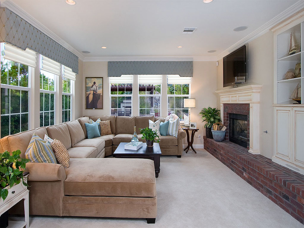 Sectional with Chaise Family Room Traditional with Brick Fireplace Surround Built in Shelves Ceiling Lighting Corner Sofa Crown Molding