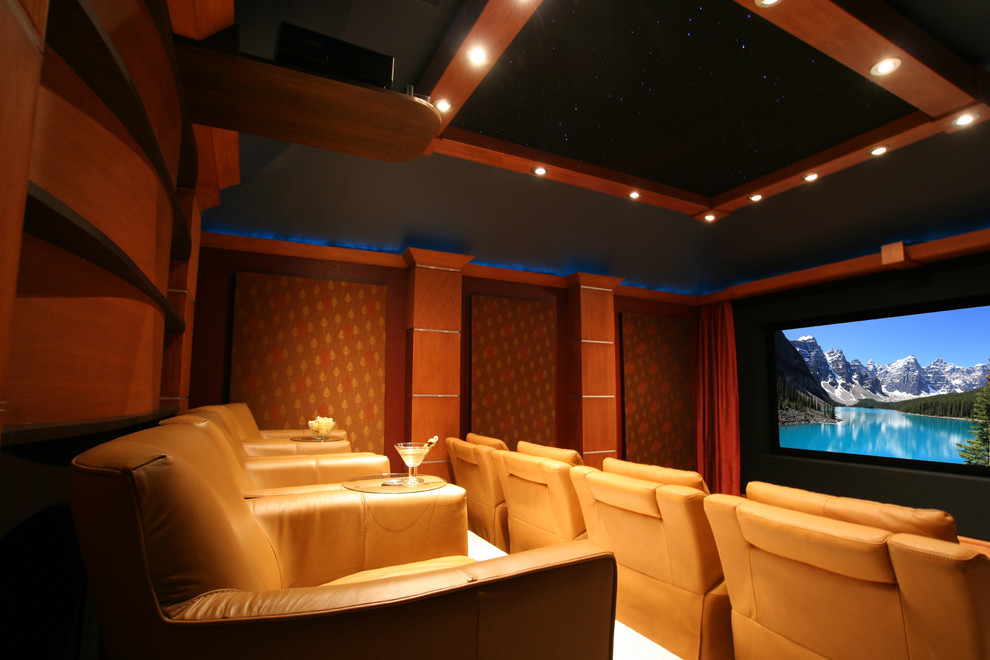Sectional with Recliner Home Theater Traditional with Coffered Ceiling Curtains Cushioned Wall Dark Wood Drapes Home Theater Home Theatre