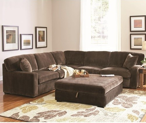 Sectionals on Sale Family Room Traditional with Coaster Company 500703 Coaster Company Luka Brown Velvet Sectional Sofa Discount Furniture