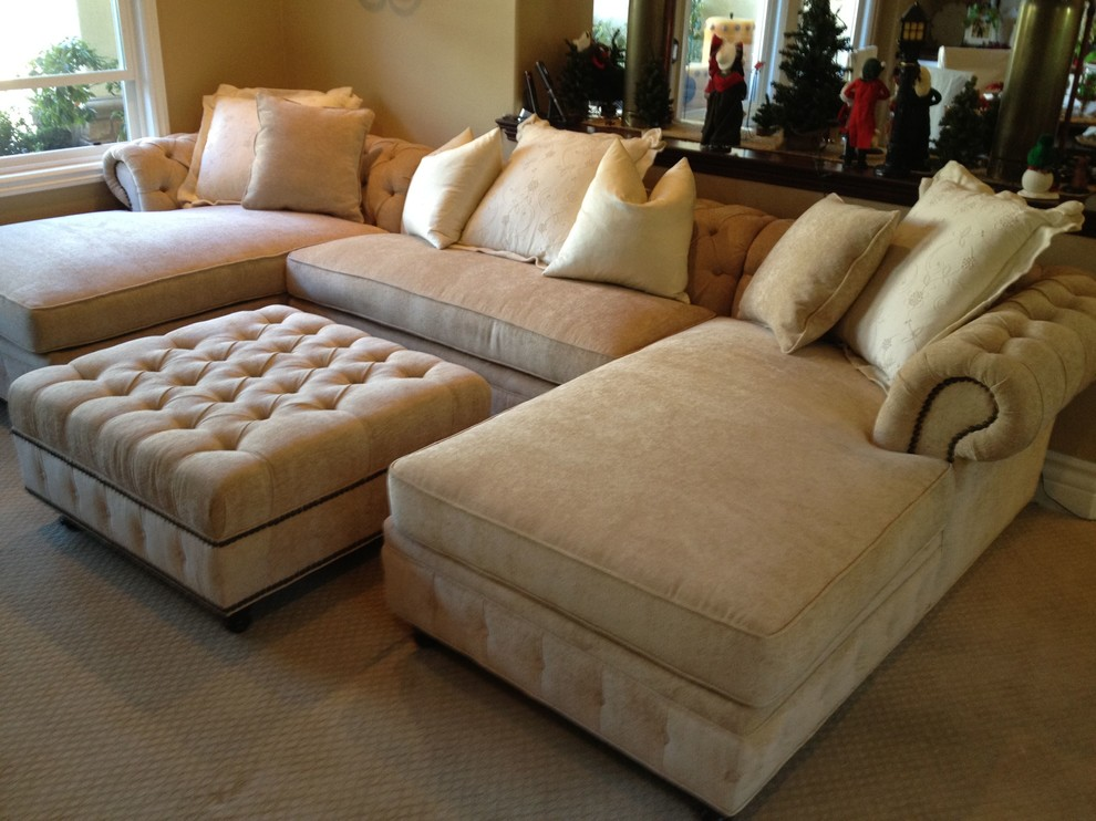 Sectionals on Sale Living Room Traditional with Chaise Chenille Chesterfield Cream Custom Diamond Tufting Nailheads Nellie Ottoman Sectional Traditional