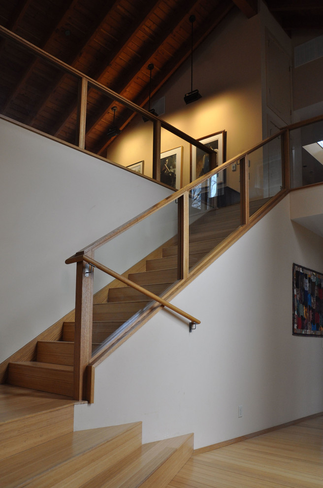 Sectionals on Sale Staircase Transitional with Bamboo Flooring Douglas Fir Exposed Beams Exposed Rafters Exposed Wood Beams Glass