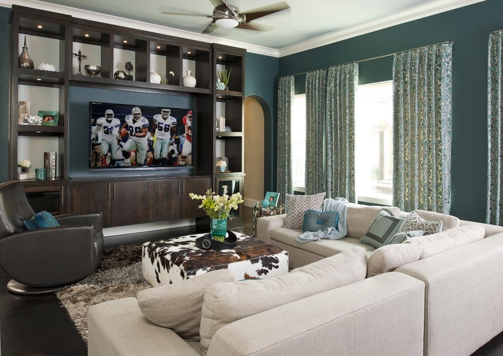 Sectionals with Recliners Family Room Contemporary with American Leather American Leather Chair Built in Media Cabinet Ceiling Fan Contemporary