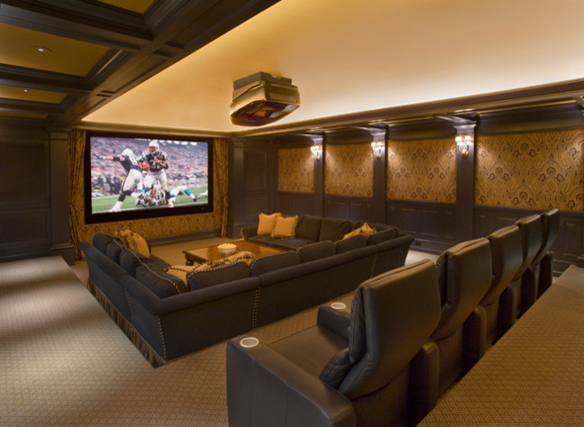 Sectionals with Recliners Home Theater Traditional with Beams Big Screen Built in Cabinets Carpet Chairs Coaches Columns Crown Crown