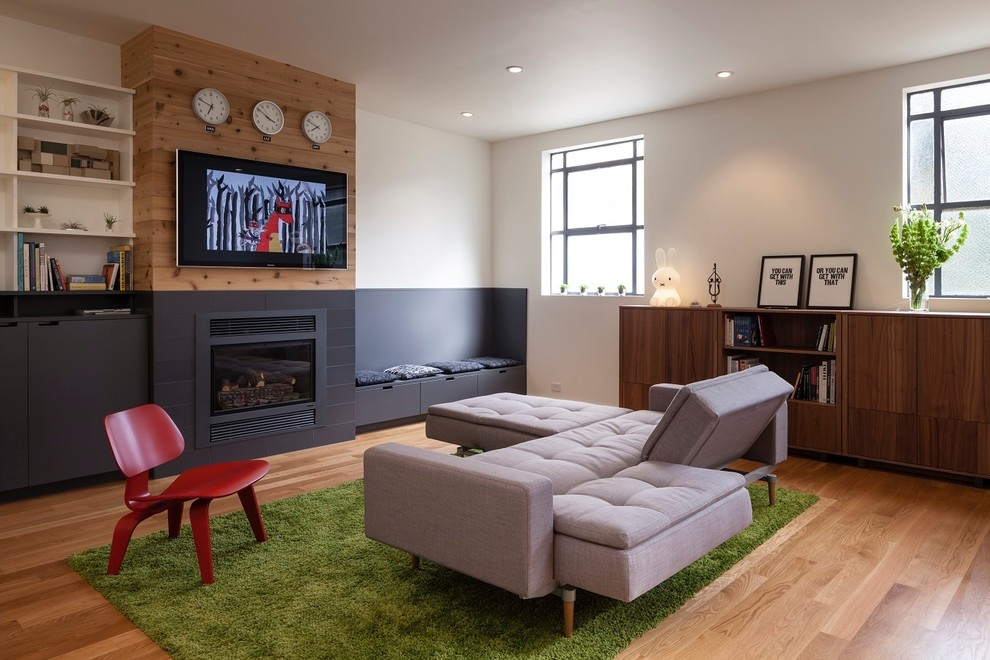 sectionals with recliners Living Room Contemporary with Black wainscoting built in storage bench bunker bunny lamp Framed Artwork gray