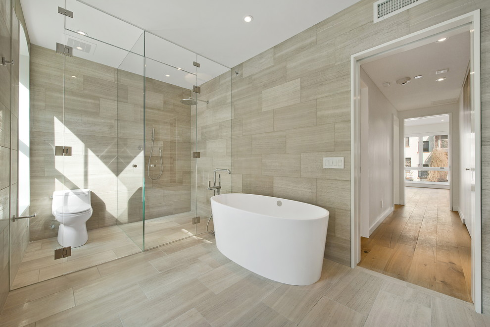 Self Adhesive Floor Tiles Bathroom Contemporary with Bathtub Glass Panels Soaking Tub Gray Tile Floor Tile Walls Wet Room