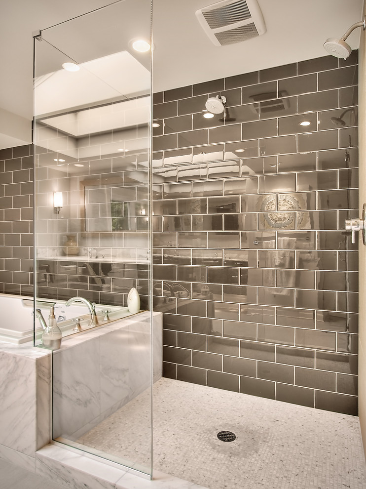 Self Adhesive Floor Tiles Bathroom Contemporary with Brown Glass Gray Marble Mosaic Tile Shower Enclosure Subway Tile Tub Two