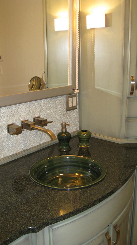 Self Rimming Sink Bathroom Transitional with Artist Made Sinks Pottery Sinks Self Rimming Sinks Stoneware Sinks