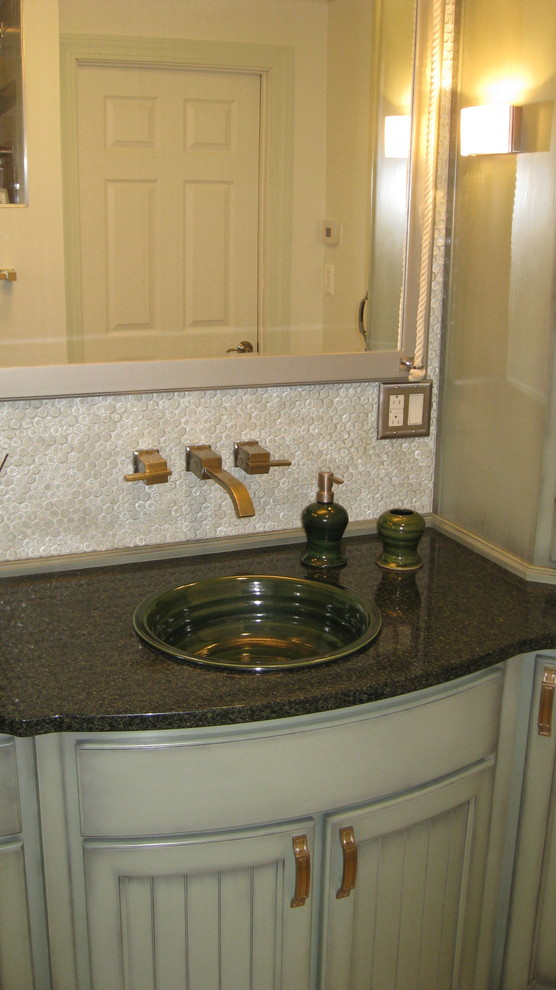 Self Rimming Sink Bathroom Transitional with Artist Made Sinks Pottery Sinks Self Rimming Sinks Stoneware Sinks 1