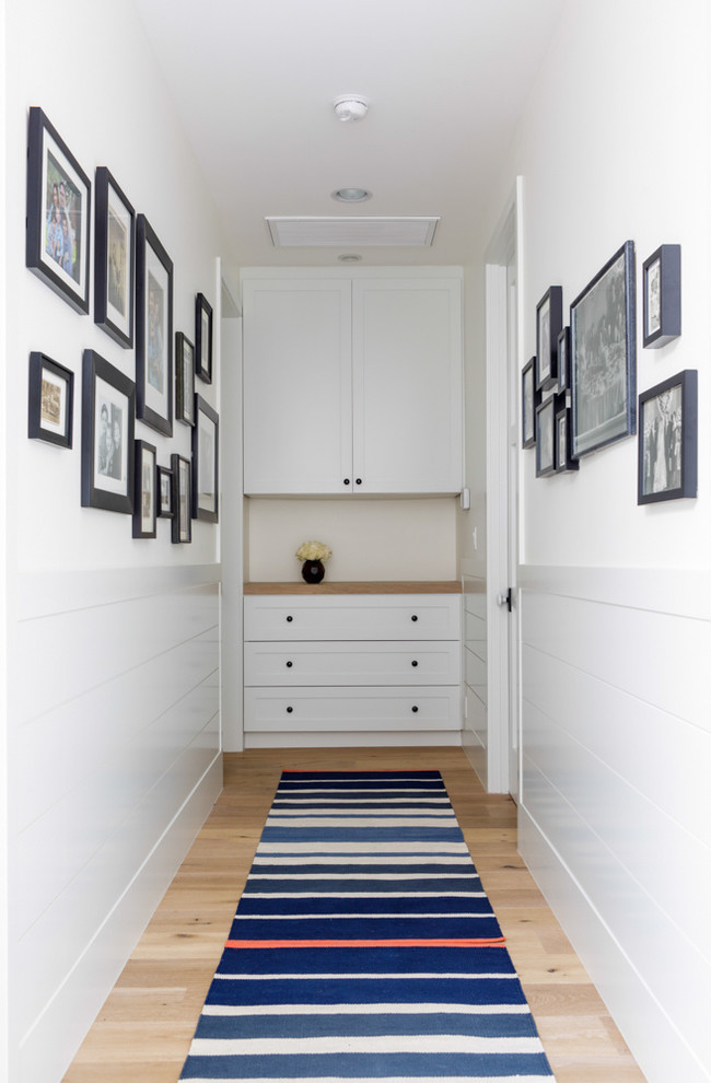 Semi Flush Ceiling Light Hall Transitional with Black Frames Blue Runner Rug Built in Storage Frame Collage Hallway Photo Collage