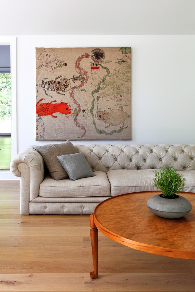 Serta Sofa Living Room Contemporary with Artwork Chesterfield Sofa Contemporary Houseplant Minimal Modern Neutral Tones Round Wood Coffee
