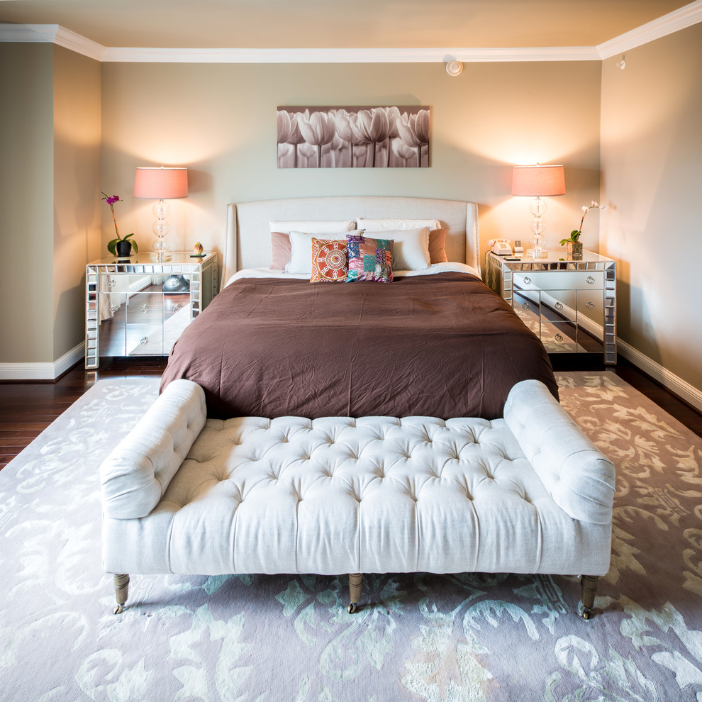 Settee Bench Bedroom Transitional with Baseboard Bedside Lamps Brown Bedding Crown Molding Floral Art Mirrored Nightstands Orchids