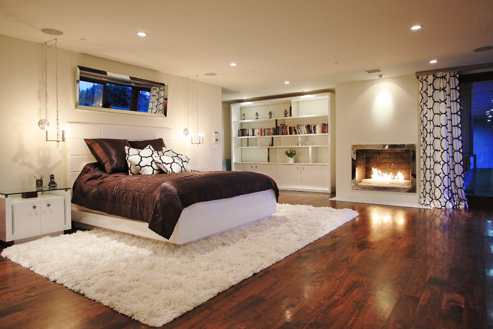 Shag Area Rug Bedroom Contemporary with Area Rug Bed Pillows Bedside Table Bookcase Brown Bedding Ceiling Lighting Curtains