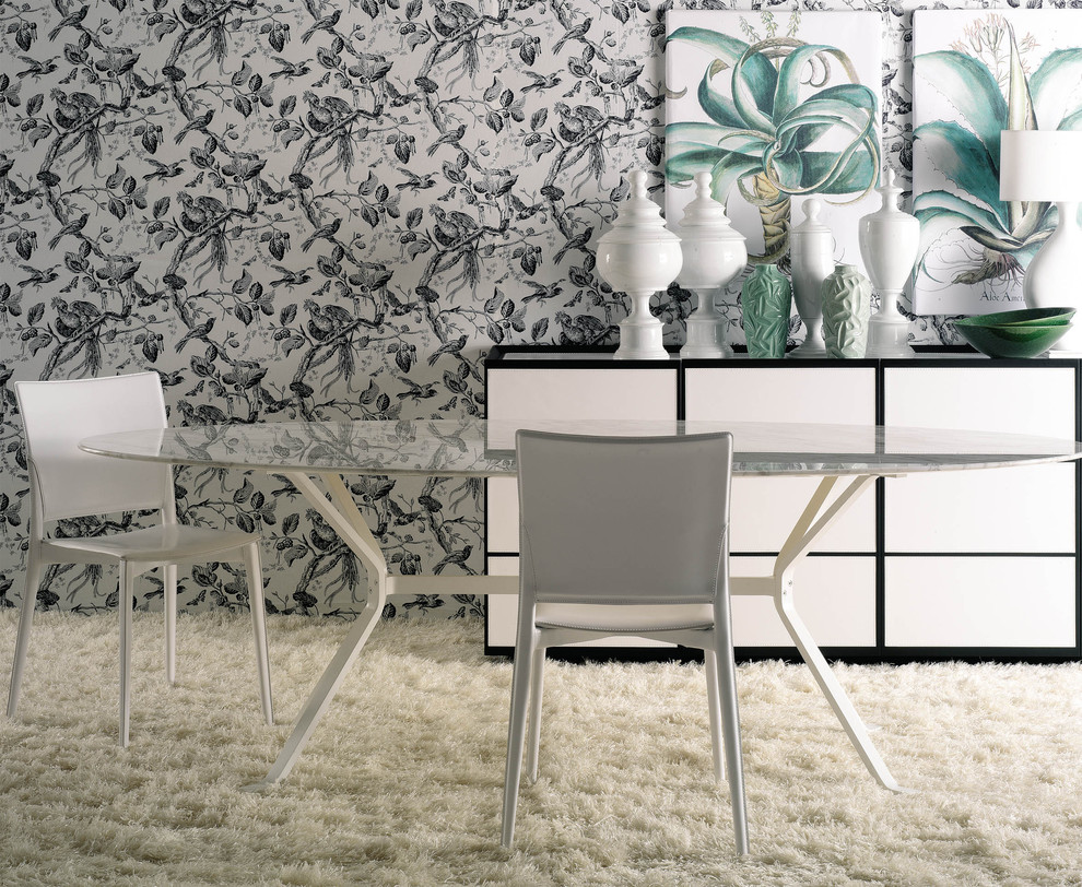 Shag Carpet Dining Room Contemporary with Black and White Botanical Wallpaper Crab Dining Table Dining Buffet Floral Glass