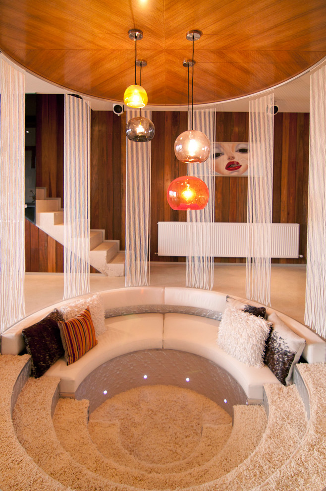 Shag Carpet Living Room Contemporary with 70s 70s Inspired Bachelor Pad Blown Glass Light Circular Conversation Pit Eclectic