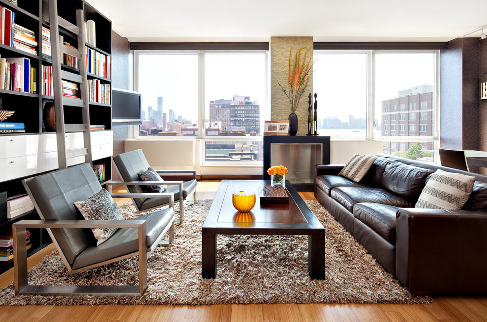 shag rug Living Room Modern with bookshelf cabinets brown leather sofa brown rug brown wall built-in bookcase built-in