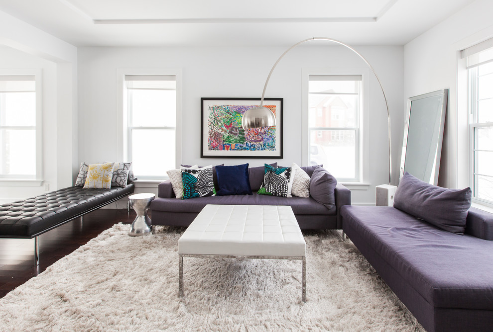 Shag Rugs Living Room Contemporary with Arc Lamp Barcelona Beige Fur Rug Black Leather Daybed Colorful Artwork Leaning