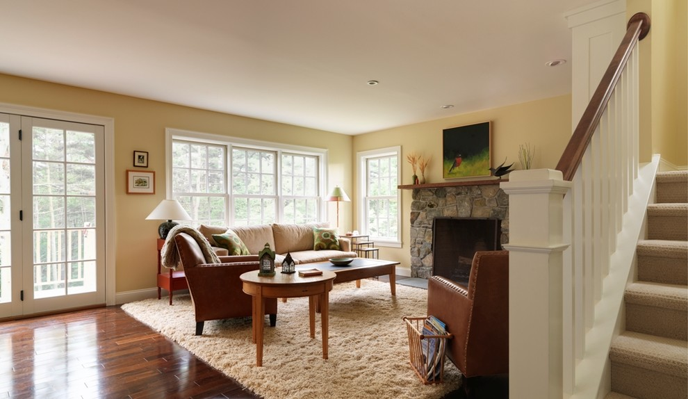 Shag Rugs Living Room Traditional with Area Rug Baseboards Ceiling Lighting Double Hung Windows End Table Fireplace Mantel