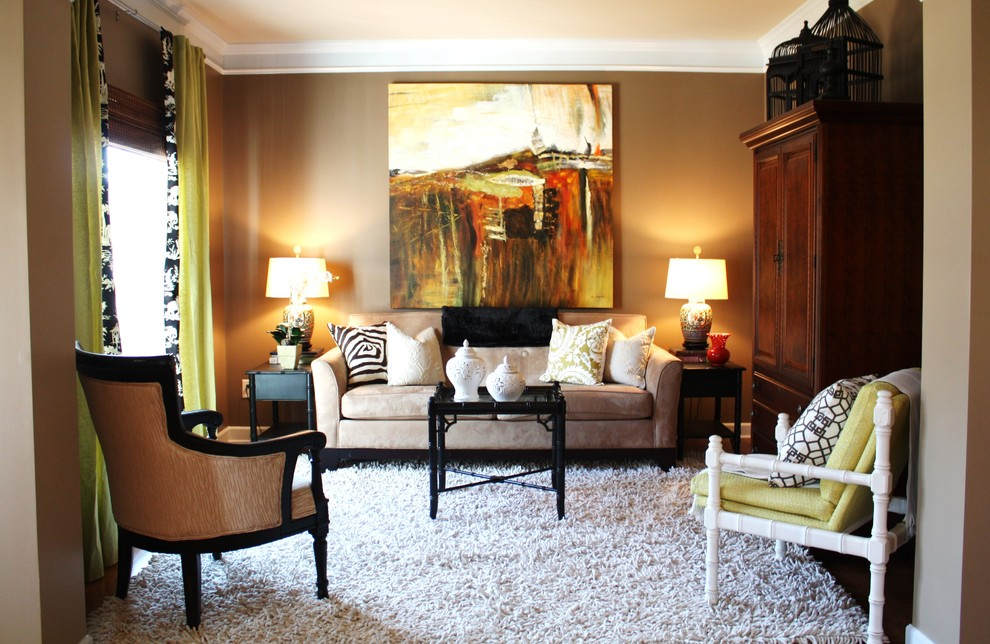 Shaggy Rugs Living Room Contemporary with Armoire Artwork Brown Walls Chairs Crown Molding Curtains Decorative Pillows Drapes Earth