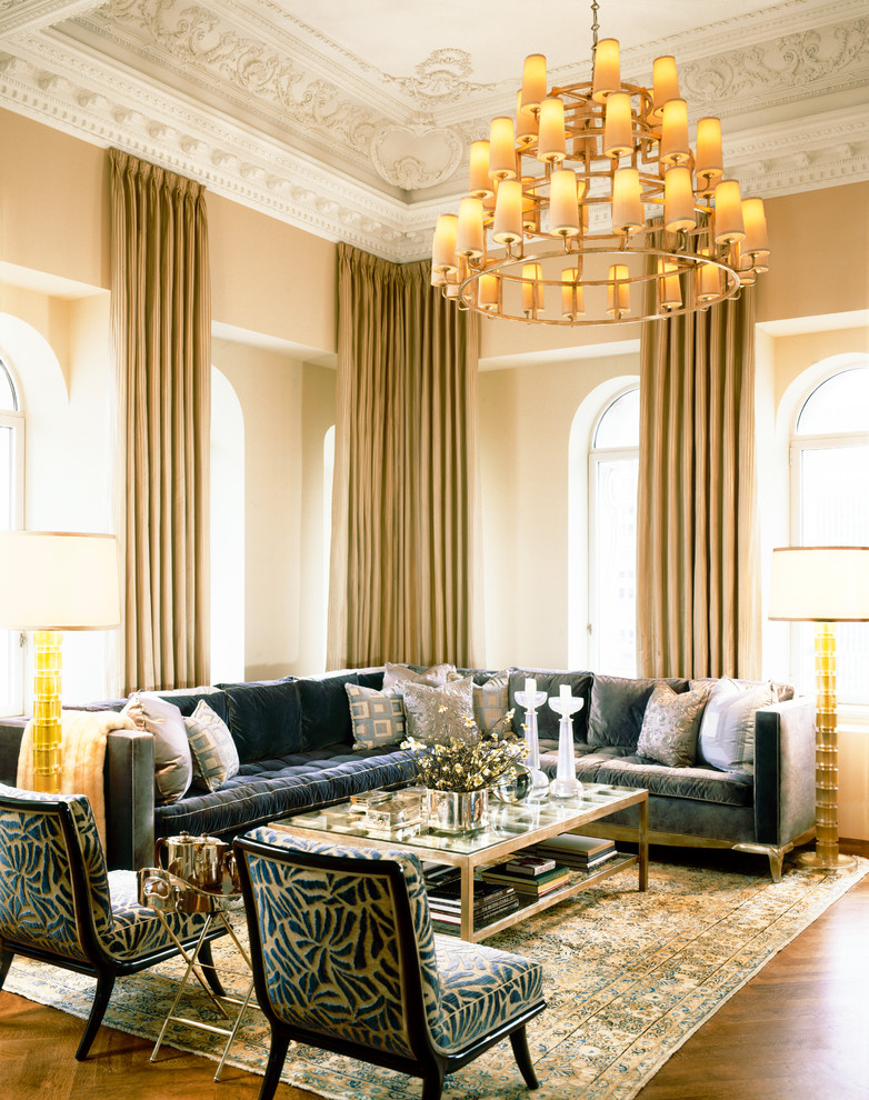 Shaggy Rugs Spaces Transitional with Benches Chandeliers Cocktail Tables Dining Chairs Elegant Murano Glass Lamps Occasional Chairs