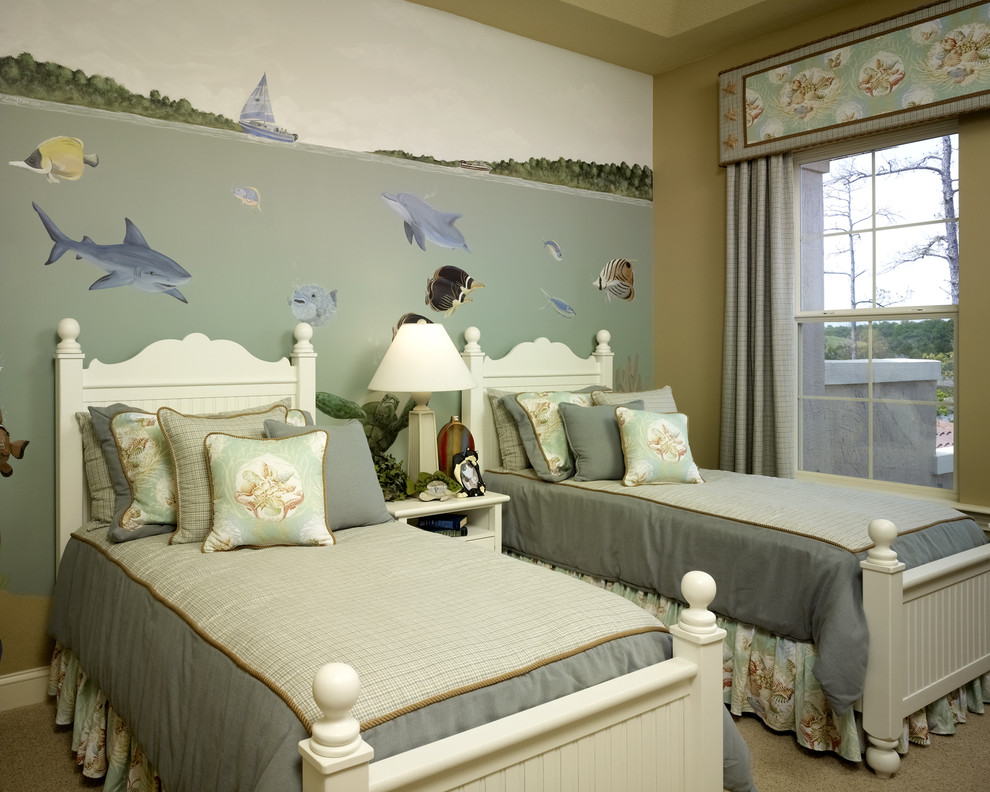 Shark Cordless Kids Tropical with Accent Wall Bedroom Beige Wall Blue Bedding Carpet Fish Kids Bedroom Mural