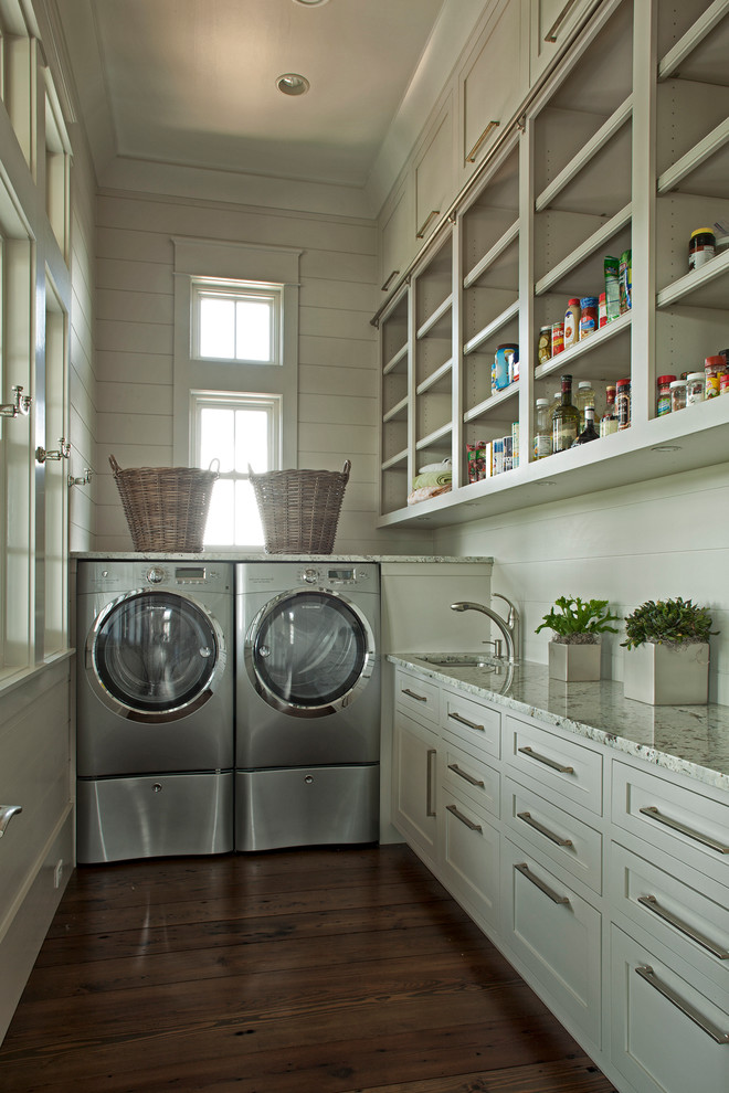 Shark Pressure Washer Laundry Room Traditional With Bar Pulls Built In  Shelves Front Loading Washer Dryer