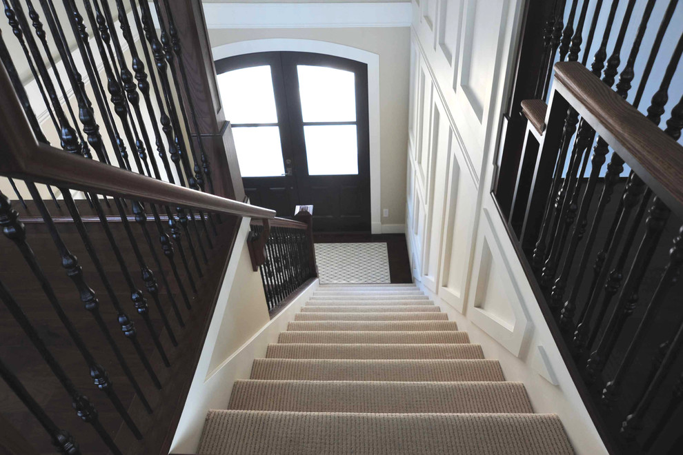 shaw hardwood Entry Transitional with banister carpet on stairs railings stairs