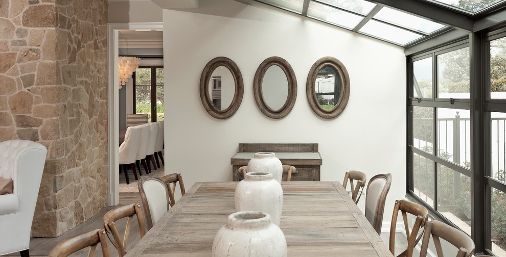 Sheep Skin Rug Dining Room Contemporary with Atrium Bay Window Dining Table Glass Ceiling Long Dining Table Mixed Chairs