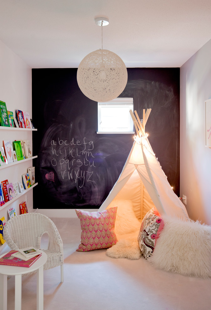 Sheepskin Rug Kids Eclectic with Book Display Chalkboard Paint Floating Shelves Square Window Teepee Wicker Chair