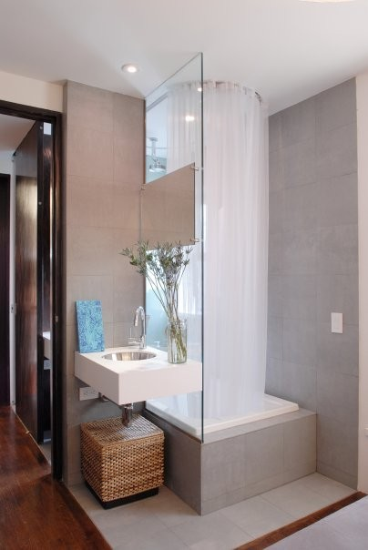 Sheer Shower Curtain Bathroom Contemporary with Candles Countertop Doorway Faucet Mirror Shelves Shower Tiles Sink Tap 1