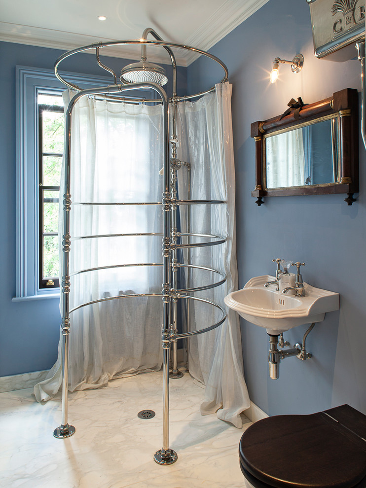 sheer shower curtain Bathroom Victorian with bathroom window black toilet blue walls Blue Window Frame Classical Architecture exposed