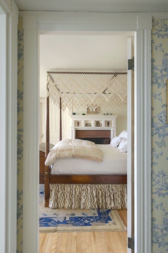 Shelterlogic Canopy Bedroom Traditional with Bed Cottage Farmhouse Four Poster Bed Romantic Wallpaper Wood Floor
