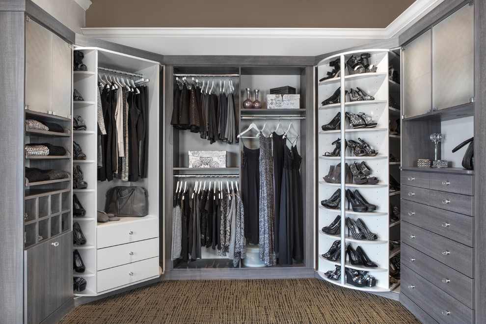 Shoe Caddy Closet Transitional with Cabinet Lazy Susan Closet Organization Gray and White Grey and White Hanging