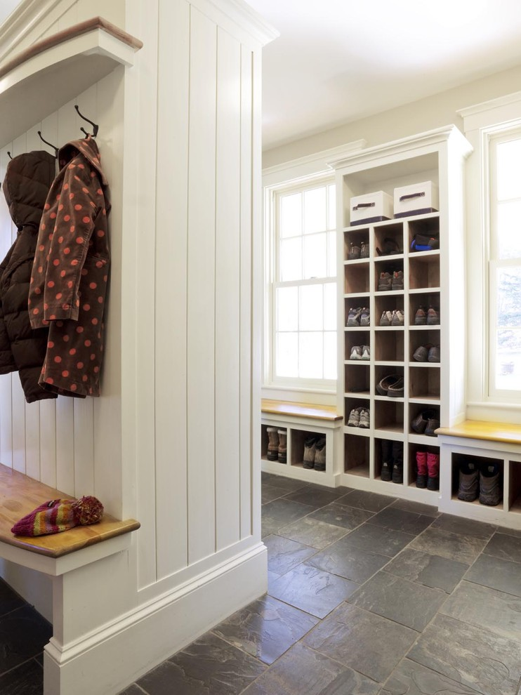 Shoe Caddy Entry Farmhouse with Baseboards Built in Storage Floor Tile Mudroom Mudroom Cubbies Shoe Storage Stone