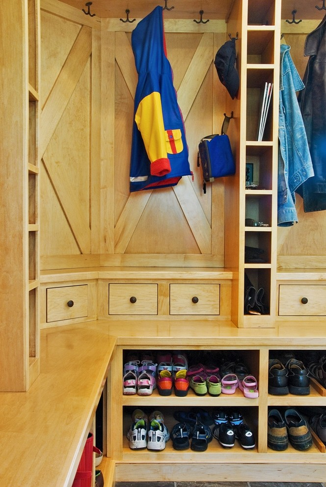 Shoe Cubby Bench Entry Contemporary with Built in Storage Built in Storage Child Friendly Mudroom Design Build Mudroom Spacious