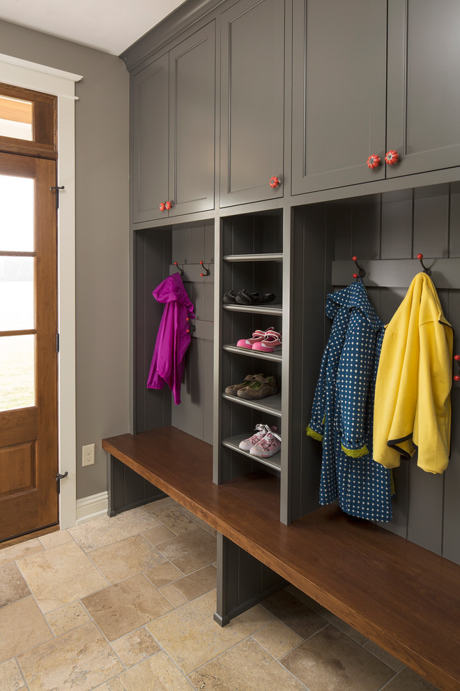 shoe cubby bench Entry Farmhouse with coat storage country country home farm house farmhouse grey cabinets mudroom Porch