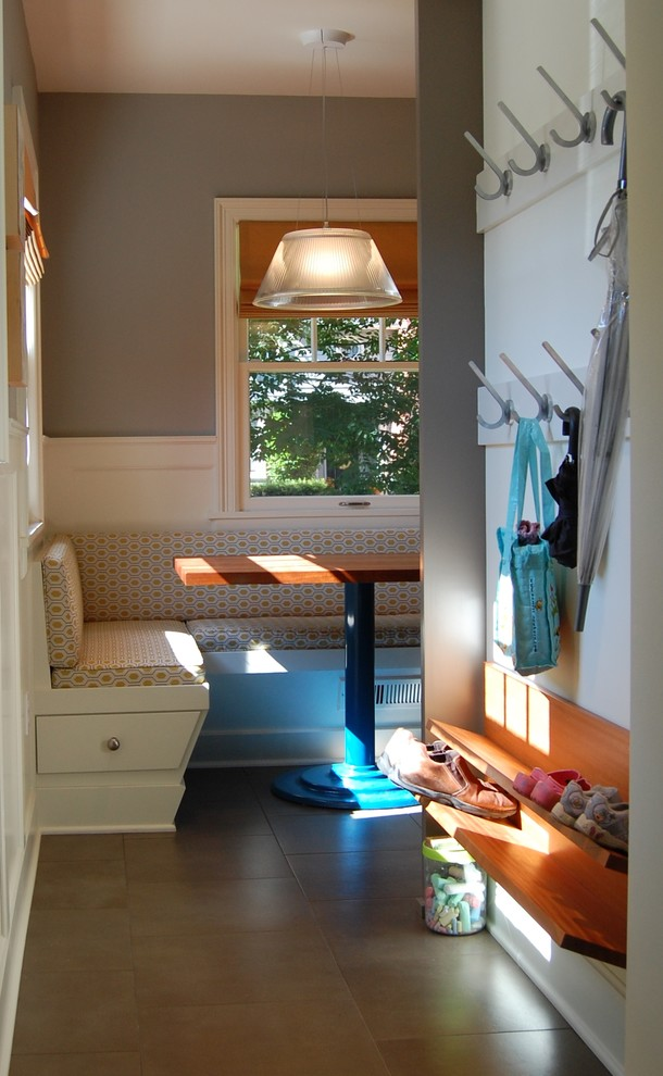 Shoe Rack Bench Entry Transitional with Apron Sink Banquette Seating Dark Stained Wood Farm Sink Frosted Glass Gray