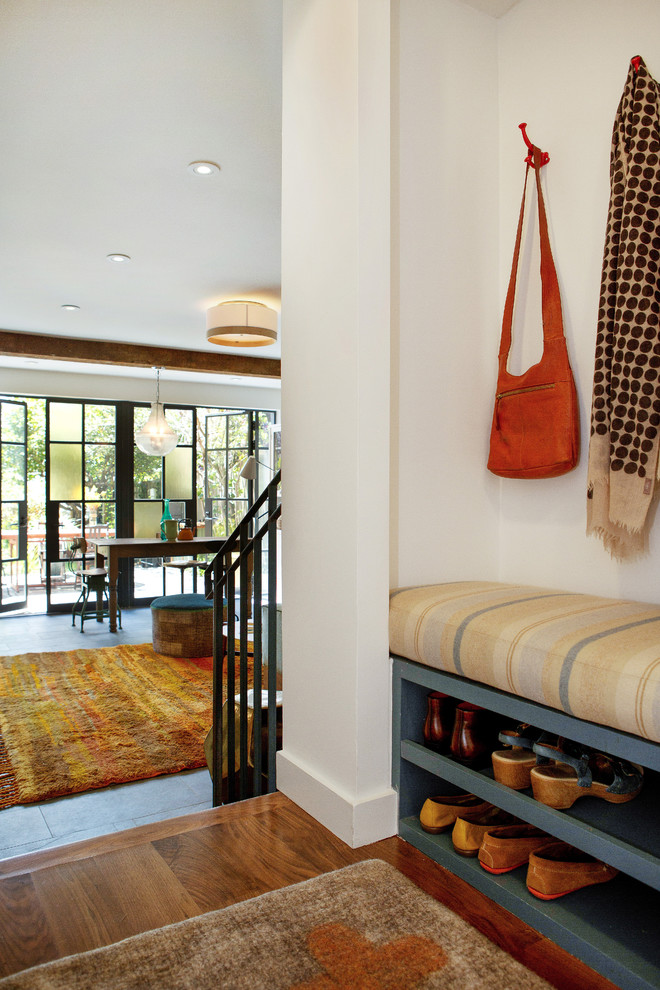 Shoe Storage Bench Entry Eclectic with Alden Miller Interiors Noe Valley