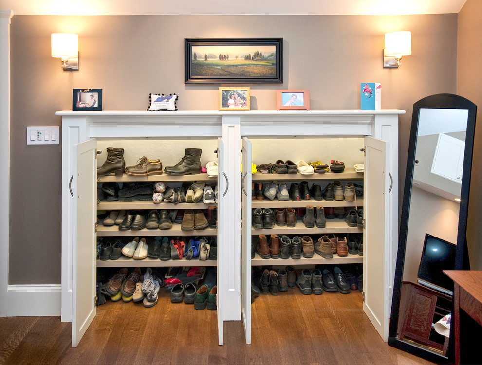 Shoe Storage Ottoman Closet Traditional with Boots Bow Pulls Built in Storage Cool Closet Cool Storage Idea Design Build Floor