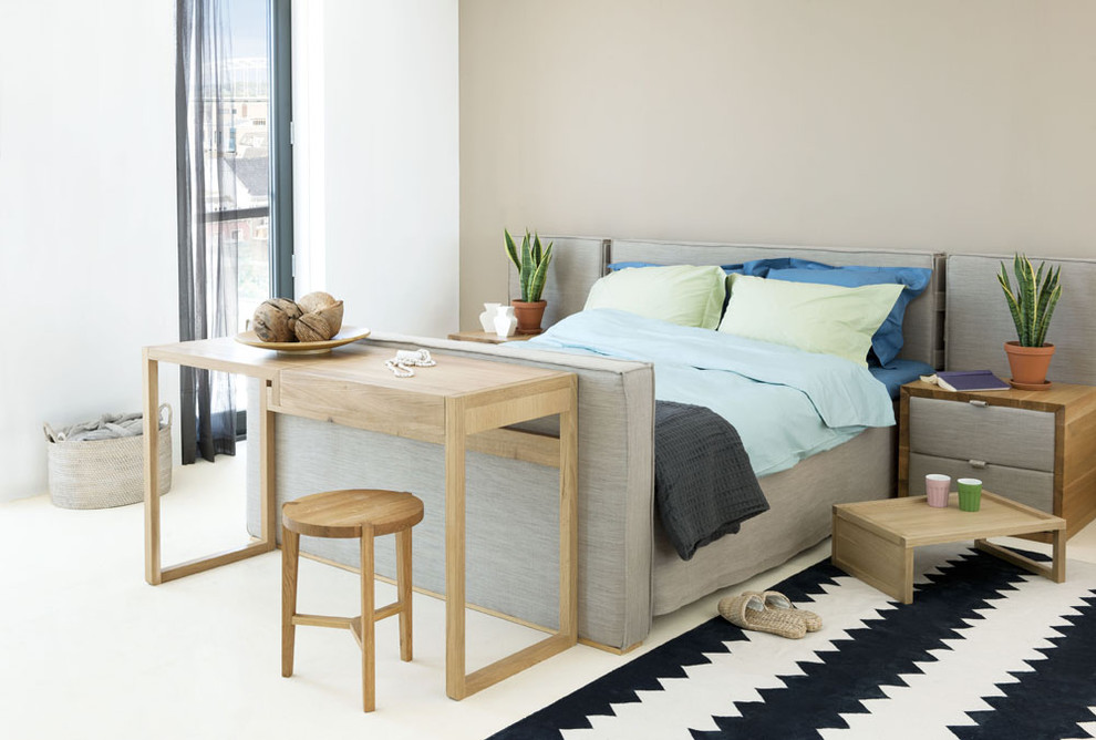 Short Queen Mattress Bedroom Contemporary with Accent Wall Area Rug Bedside Table Chest of Drawers Foot of The