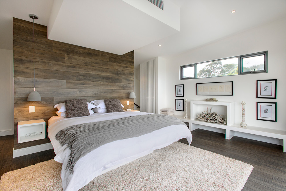 Short Queen Mattress Bedroom Contemporary with Artwork Bedroom Built in Bed Built in Bench Seat Faux Fireplace Floating Nightstand Gray
