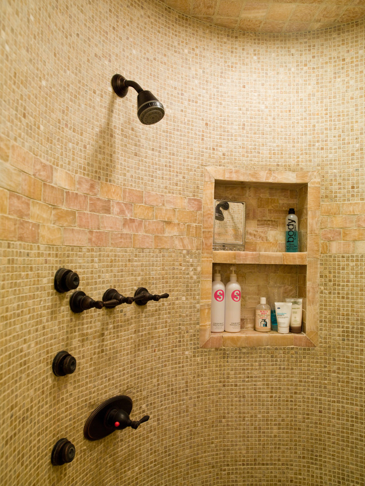 Shower Caddies Bathroom Contemporary with Bath Fixtures Built in Shelves Curved Wall Mosaic Tiles Oil Rubbed Bronze