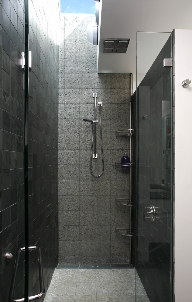 shower caddy Bathroom Transitional with bathroom lighting floor tile glass shower door neutral colors rain shower head