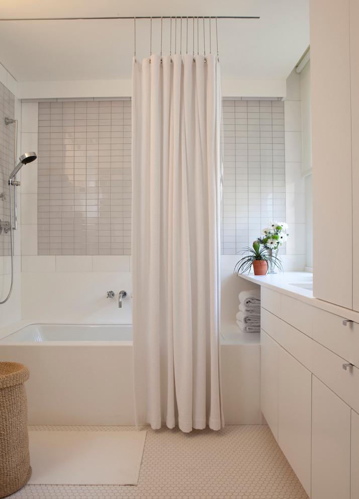Shower Curtain Hooks Bathroom Contemporary with Basket Bath Mat Bathroom Storage Bathtub Built in Cabinetry Flowers Hamper Honeycomb