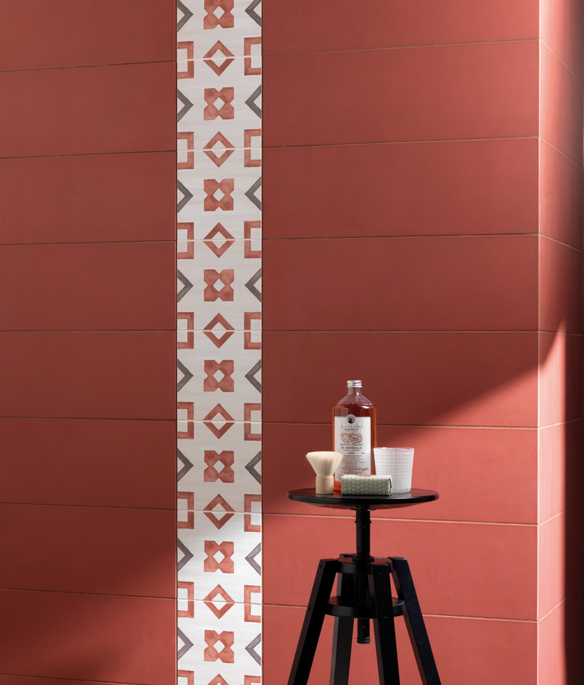 Shower Curtain Hooks Bathroom Eclectic with Accent Bathroom Tile Ceramic Tile Decorative Tile Elongated Red Wall Tile